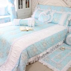 Aliexpress Latest Cotton 4pcs Pink Light Blue Duvetcover Sets Ruffle Wedding Princess Home Bedding Kit Double Bed Be Round Heart Pillow From