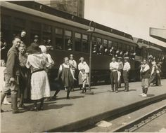 NJ National Guard soldiers from the 113th Infantry prepare to take a train out of Newark to Sea Girt for their annual training in 1923.