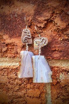 Blue Lace Agate Earrings  Gem Slice Dangle Earrings  Spiral