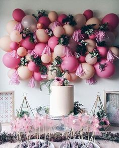 Balloons, flowers, and yummy treats make us happy gals | design @zaynah_mayna cake @sunnybakehouse