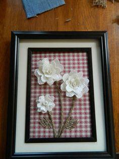 Burlap Flowers.. Dollar store frame..