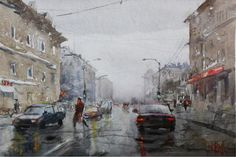 rainy day Watercolor, Paintings, Art, Pen And Wash, Art Background, Watercolor Painting, Paint, Painting Art, Kunst