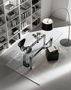 Tavolo rettangolare in vetro MILES by T.D. Tonelli Design design Giulio Mancini