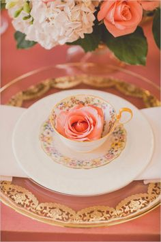 Cute floral tea cups on gold chargers. Coral and Gold Wedding Inspiration - See… Rebecca Chan, Raindrops And Roses, Royal Tea, Beautiful Table Settings, Coral And Gold, Peach Blossoms, Just Peachy, Coffee Set, Coffee Time