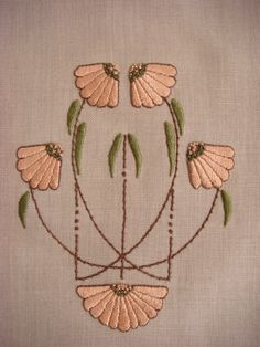 Carrie's Garden Table Runner Embroidery Kit, Art Nouveau, Craftsman, Mission