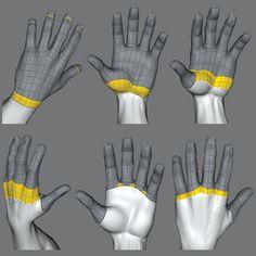Hands - Human Typologie Wireframe Zbrush Tutorial, 3d Tutorial, 3d Model Character, Character Modeling, 3d Face Model, Polygon Modeling, 3d Human, Blender Tutorial, 3d Mesh