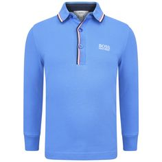 c3fd7a71d90a9 Boss boys long sleeve polo shirt in a blue hue with red