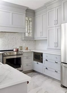 When doing a small kitchen design for an apartment, either a corridor kitchen design or a line layout design will … Shaker Style Kitchen Cabinets, Shaker Style Kitchens, Kitchen Cabinet Styles, Grey Kitchens, Painting Kitchen Cabinets, Kitchen Paint, Kitchen Tiles, Kitchen Flooring, Kitchen Decor