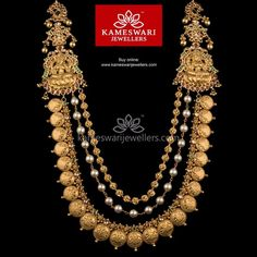 Traditional gold necklaces for women from the house of Kameswari. Shop for antique gold necklace, exquisite diamond necklace and more! Gold Earrings Designs, Gold Jewellery Design, Necklace Designs, Gold Jewelry, Gold Necklace, Gold Designs, Silver Earrings, India Jewelry, Jewellery Diy