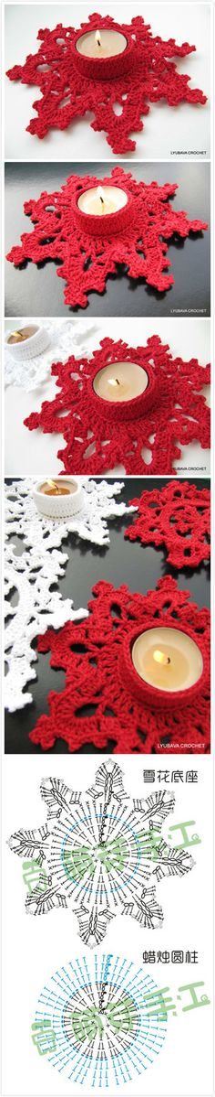 crochet snowflake for candle holder