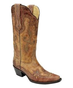214.99 Cognac Stud-Accent Leather Cowboy Boot  1.5'' heel 13'' shaft 15'' circumference Pull-on Goodyear welt Snip toe Cushioned footbed Leather upper Leather lining Leather sole Made in Mexico