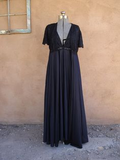 Vintage 1960s Nightie Robe Set Black Illusion Lace by bycinbyhand, $65.00