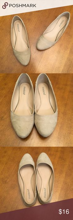 """CUTE Beige Almond Toe Flats by Shoedazzle Size 10 Super cute beige colored """"MIA"""" flats from Shoedazzle.  Size 10.  Almond shaped toe and faux suede-like material outer.  Perfect interior condition.  Soles show some signs of wear, but these shoes have been worn probably 3 or 4 times. ShoeDazzle Shoes Flats & Loafers"""