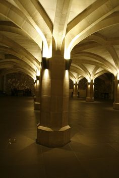 """Guildhall London Crypts, London - dpa lighting consultants - """"Right Light, Right Place, Right Time"""" ™ Vaulted Ceiling Lighting, Facade Lighting, Exterior Lighting, Cool Lighting, Architectural Lighting Design, Architectural Features, Arch Light, Window Reveal, Lights"""