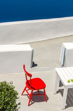 red chair © 2013 TG Photography All rights reserved Food Design, Hotels And Resorts, Santorini, Food Photography, Greece, Interiors, Interior Design, Chair, Luxury