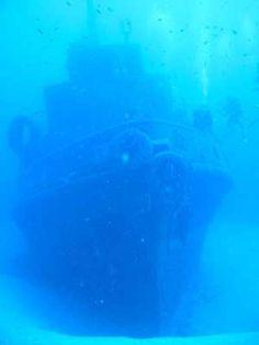 Boat underwater off Malta.