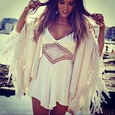 Sexy fringe modern hippie cover up over gypsy crochet embellished boho chic tunic top. For the BEST Bohemian fashion lifestyle trends FOLLOW https://www.pinterest.com/happygolicky/the-best-boho-chic-fashion-bohemian-jewelry-gypsy-/ now