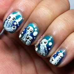 Jelly Fish nails - @hcnails. How cute!!