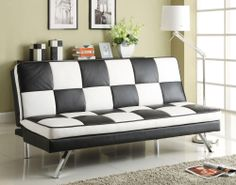 This retro style Checkerboard Black and White Klik Klak features contemporary chromed steel legs and checked black and white faux leather for a sixties-chic look. This dual-purpose piece adds a stylish accent to any room of the home while serving as an imprompt sofa bed when company stays over.