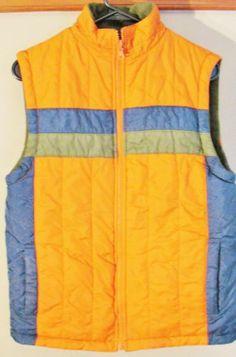 Vintage Retro Orange Blue & Green Nylon Vest Sz Med Mens Ski Snowboard Winter
