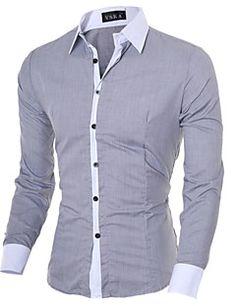 Camisa De los hombres Un Color / Retazos Casual / Trabajo / Formal-Algodón / Poliéster-Manga Larga-Negro / Azul / Rosa / Blanco / Gris