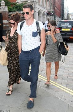 Reunion: Former Doctor Who co-stars Matt Smith and Jenna Coleman enjoyed a day out in London on Saturday with his girlfriend Lily James