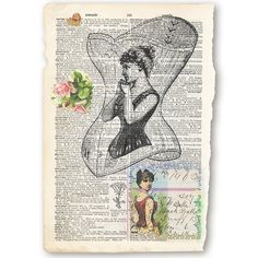 Vintage old dictionary page print Victorian corset lady image - hearts with roses and handwritten paper from 1902 by DreamyPapers, $9.50 Frame or use for another project. https://www.etsy.com/listing/163650793/vintage-old-dictionary-page-print-corset