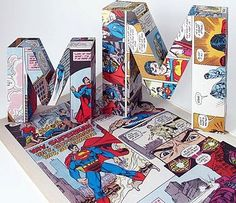 Love this idea. Decoupage with comics. @Christine Wells umm we need to do this for the next party!