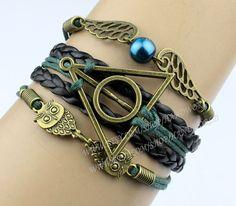 Bronze Charm Bracelet Harry Potter Deathly Hallows by handworld, $5.36