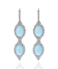 Carla Amorim earrings set with rare Sleeping Beauty turquoise in white gold, accentuated by brilliant-cut diamonds. Jade Jewelry, High Jewelry, Luxury Jewelry, Lotus Jewelry, Diamond Jewelry, Jewelry Box, Unusual Engagement Rings, Sleeping Beauty Turquoise, Blue Gemstones