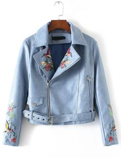 37$  Buy here - http://di0yg.justgood.pw/go.php?t=10773 - Blue Bird Embroidery Zipper PU Jacket With Belt