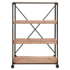Wood and iron bookcase with 4 shelves and bottom wheels.    Product: BookcaseConstruction Material: Wood and i...