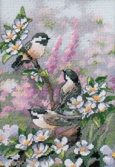 The most stunning cross stitch kit for spring! Gold Collection Petite Chickadees In Spring Counted Cross Stitch Kit Cross Stitch Needles, Cross Stitch Bird, Cross Stitch Animals, Counted Cross Stitch Kits, Cross Stitch Designs, Cross Stitching, Cross Stitch Embroidery, Embroidery Patterns, Cross Stitch Patterns