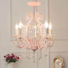 Girls Bedroom Chandelier, Pink Chandelier, Beaded Chandelier, Chandelier Pendant Lights, Modern Chandelier, Ceiling Pendant, Chandeliers, Pink Bedroom For Girls, Pink Room