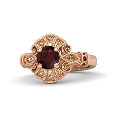 Round Red Garnet 14K Rose Gold Ring with Red Garnet & Smoky Quartz | Chantilly Ring