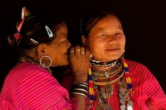 Two women from Kor Yor tribe (Kayaw), aka the Big Ears as they wear since their youngest age some huge ear rings.  This tribe can be found in North Thailand where, as the Long Necks, they are Karenni refugees from Myanmar. Most of them are christians.  Ban Nai Soly.