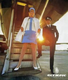 Olympic Airlines Stewardess Uniform by Pierre Cardin, Pierre Cardin was the go-to man, when it came to fabulous futuristic designs for airlines of the Jet Olympic Airlines, Flight Attendant, Pierre Cardin, Olympics, Aviation, Air Travel, Transportation, Greece, Designers