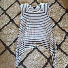 Striped Asymmetrical Tee Striped short sleeved asymmetrical tee. Never worn. Mossimo Tops Tees - Short Sleeve