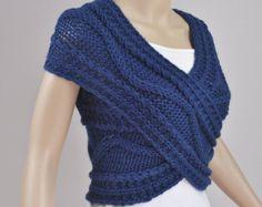 Hand stricken Frau Wolle Pullunder Cross Pullover von MaxMelody