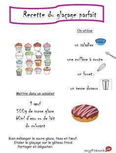 La recette illustrée du du glaçage parfait. French recipe.