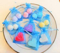 Blue Favours BULK ORDER. Mini Love heart soap Mini Bath Bombs