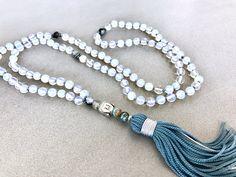 Moonstone mala necklace white moonstone mala necklace yoga mala meditation necklace buddha necklace tassel necklace 108 beads by Katiaicrafts on Etsy