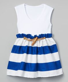 Look at this #zulilyfind! White & Blue Stripe A-Line Dress - Infant & Kids #zulilyfinds