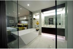 This ultra modern #bathroomdesign is from The Impression 40 designed by Wisdom Homes.  View more of this #homedesign at discoverhomeworld.com.au
