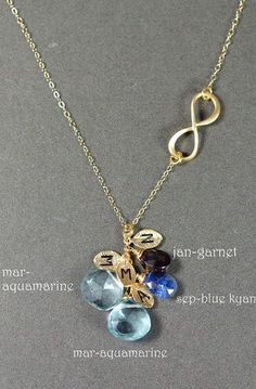 birthstones leaves initials Infinity necklace
