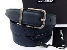 Authentic Dolce & Gabbana Leather 95/38 Navy Silver Belt Men Unused Q905