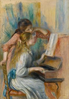 Young Girls at the Piano, (oil on canvas), Renoir, Pierre Auguste Pierre Auguste Renoir, August Renoir, Renoir Paintings, Edgar Degas, Impressionist Art, Oil Painting Reproductions, Claude Monet, French Artists, Oeuvre D'art
