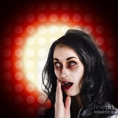 Dark portrait of a zombie female business person covering mouth in shock horror by Ryan Jorgensen