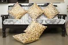 Embroidered Pejali  Sequence  Velvet Beige Cushion Cover (Pack of 5) By Dekor…