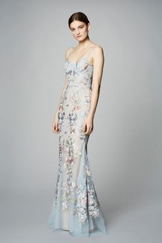 MARCHESA NOTTE SLEEVELESS EMBROIDERED TULLE GOWN. #marchesanotte #cloth #
